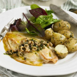 Quick-fry lemon sole with shrimp and caper butter