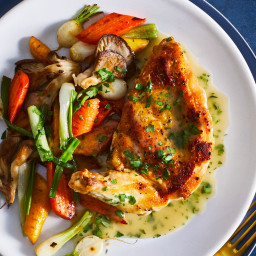 Quick Skillet-Roasted Chicken with Spring Vegetables