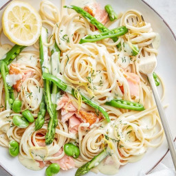 Quick spring salmon pasta with lemon cream sauce