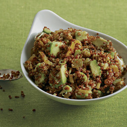 Quinoa and Avocado Salad with Dried Fruit, Toasted Almonds, and Lemon-Cumin