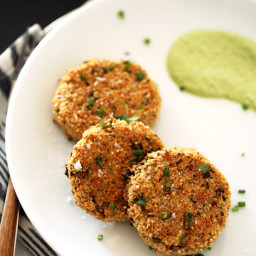 Quinoa-Cauliflower Cakes with Herbed Brazil Nut Cream