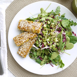 Quinoa Crusted Tofu On Greens (with creamy basil dressing)