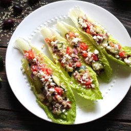Quinoa Greek Salad Lettuce Wraps