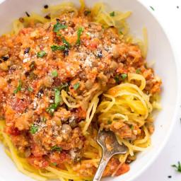 Quinoa + Lentil Bolognese with Spaghetti Squash