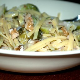 Quinoa Pasta with Brussels Sprouts in a Walnut Sauce