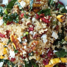 Quinoa Salad With Roasted Squash, Dried Cranberries, and Pecans