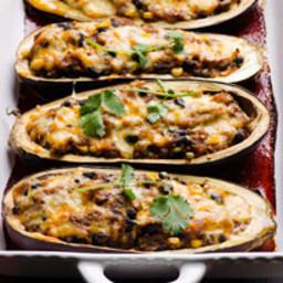 Quinoa Stuffed Eggplant Tex Mex Style