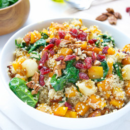 Quinoa With Butternut Squash Spinach And Dried Cranberries