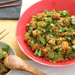 "Quinoa and Tofu ""Fried Rice""with Chinese Broccoli and Crispy Shiitake Mushr"