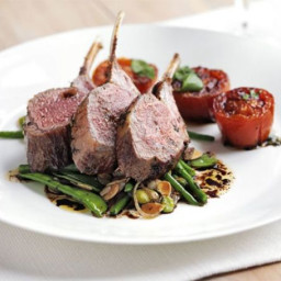 Rack of lamb with warm salad of mixed beans and slow-roast tomatoes