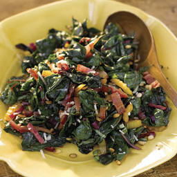 Rainbow Chard with Pine Nuts, Parmesan, and Basil