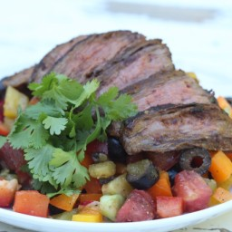 Rainbow Mexican Pepper Salad with Flank Steak