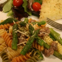 Rainbow Rotini with Sausage & Asparagus