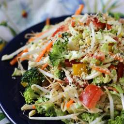 Rainbow Vegan Power Salad with Gluten-Free Orange Maple Miso Dressing