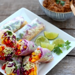 Rainbow Vegetable Rolls and Spicy Peanut Sauce