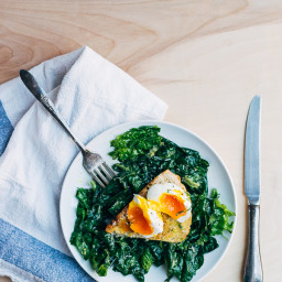 Ramp and Spinach Caesar Salad with Poached Eggs