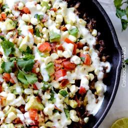 Ranch Taco Dip with Fresh Corn Avocado Bacon Salsa