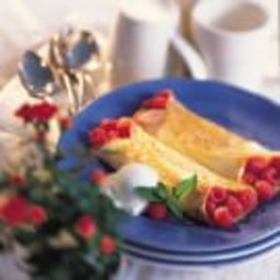 Raspberry Crepes with Ice Cream