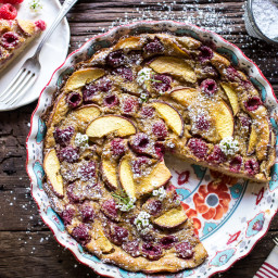 Raspberry, Nectarine and Sweet Corn Clafoutis.