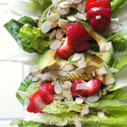 Raspberry Romaine with Avocado, Strawberries and Toasted Almonds