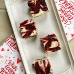 Raspberry Swirl Chocolate Chip Cheesecake Bars