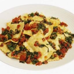 Ravioli with Arugula, Tomatoes and Pancetta