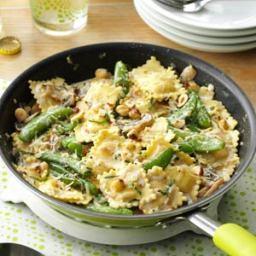 Ravioli with Snap Peas  and  Mushrooms Recipe