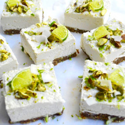 Raw Pistachio, Coconut and Lime Cheesecakes