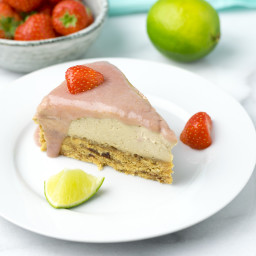 Raw Vegan Strawberry Peanut Butter Cheesecake