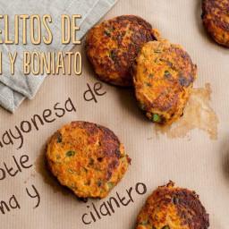 Receta: Pastelitos de Salmón y Boniato con Mayonesa de Chipotle