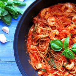 Tomato & Fresh Basil King Prawn Spaghetti