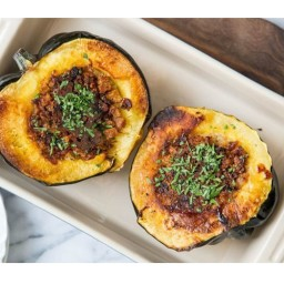 Acorn Squash Stuffed with Bread, Cheese, and Bacon