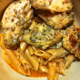 Recipe: Garlic Pesto Chicken with Tomato Cream Penne
