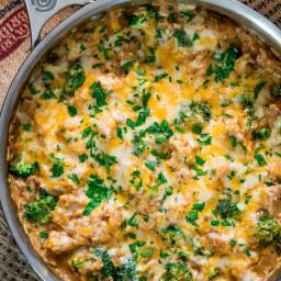 One Pot Cheesy Chicken Broccoli and Rice Casserole