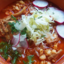Red Chile Chicken Pozole With Roasted Tomatoes