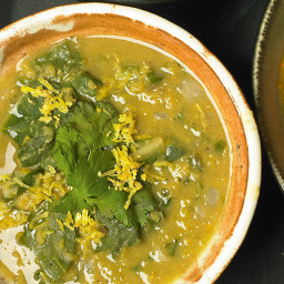 Red lentil and chard soup