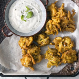 Red onion and chilli bhajis with mint and garlic raita