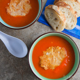 Red Pepper Bisque with Asiago Crisps