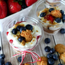 Red, White and Blueberry Parfaits