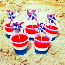 red, white + blue jello shots