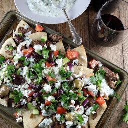 Red Wine Braised Lamb Nachos with Yogurt-Gremolata & Feta Salad