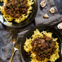 Red Wine Pot Roast with Mushrooms and Egg Noodles