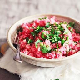 Red Beet Cauliflower Risotto