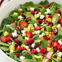 Red Berry Avocado Spinach Salad with Strawberry Poppy Seed Dressing