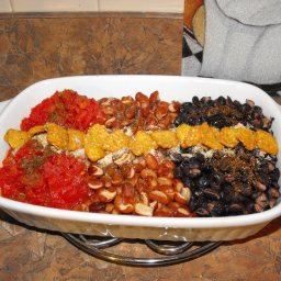 Red,White & Blue Bean & chopped Tomato side dish