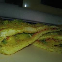 Reverse egg avocado quesadilla