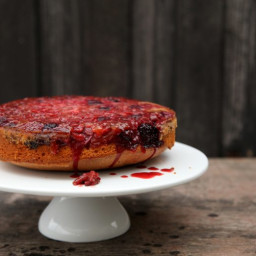 Rhubarb and Berry upside down cake