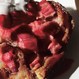 Rhubarb and Ginger Brioche Bread Pudding