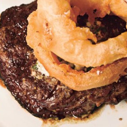 Rib-Eye Steak with Blue Cheese Butter and Walla Walla Onion Rings