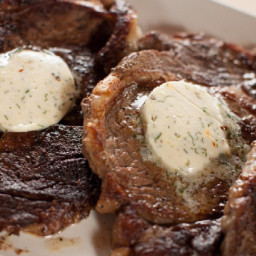 Rib Eye Steaks with Cowboy Butter